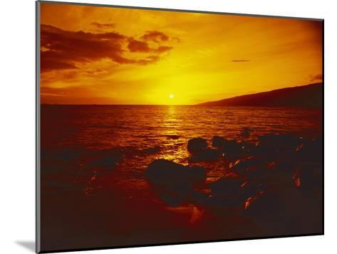 Sunset over the Ocean as Seen from a Maui Beach-Todd Gipstein-Mounted Photographic Print