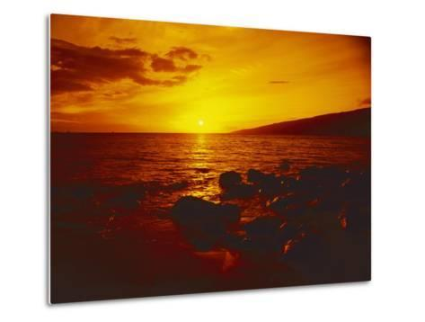Sunset over the Ocean as Seen from a Maui Beach-Todd Gipstein-Metal Print