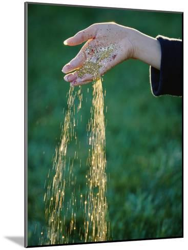 Small Glass Beads Fall Like Rain from a Womans Hand-Paul Chesley-Mounted Photographic Print
