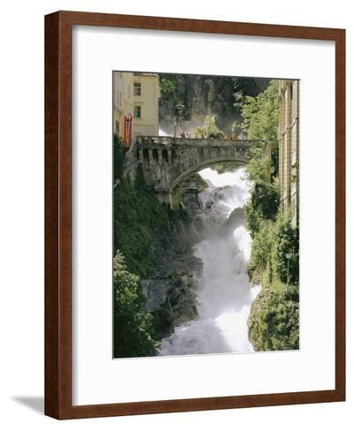 Footbridge over a Waterfall in Badgastein-Walter Meayers Edwards-Framed Art Print