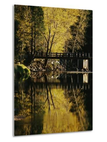 Trees and a Footbridge are Reflected in the Merced River-Marc Moritsch-Metal Print