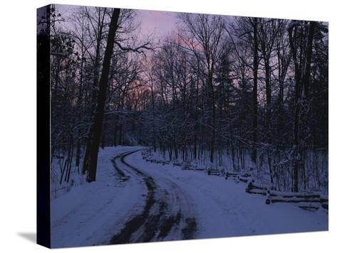 Dawn View of a Snow-Covered Road-George F^ Mobley-Stretched Canvas Print