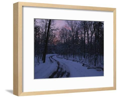 Dawn View of a Snow-Covered Road-George F^ Mobley-Framed Art Print
