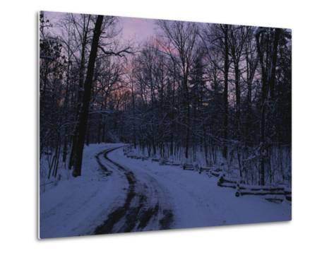 Dawn View of a Snow-Covered Road-George F^ Mobley-Metal Print