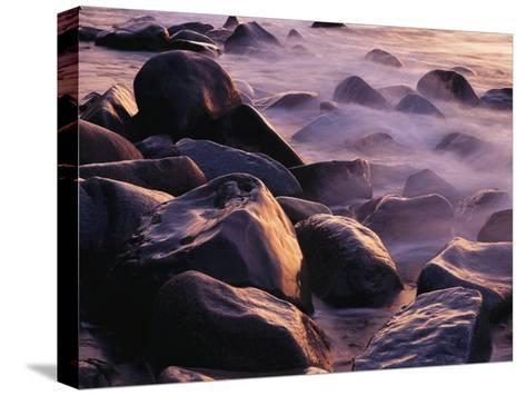 Sunlit Rocks in Surf and Spray, Jasmund National Park, Germany-Norbert Rosing-Stretched Canvas Print