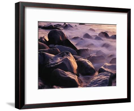 Sunlit Rocks in Surf and Spray, Jasmund National Park, Germany-Norbert Rosing-Framed Art Print