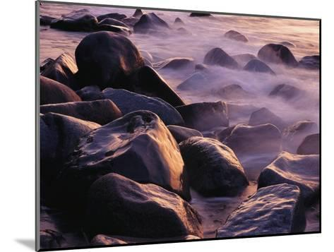 Sunlit Rocks in Surf and Spray, Jasmund National Park, Germany-Norbert Rosing-Mounted Photographic Print