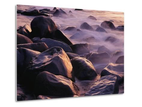 Sunlit Rocks in Surf and Spray, Jasmund National Park, Germany-Norbert Rosing-Metal Print