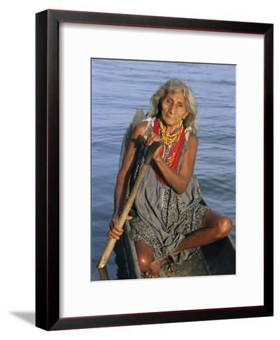 A Warao Indian in a Canoe-Ed George-Framed Art Print