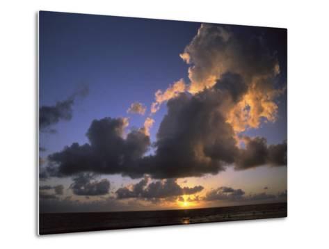 Sunset Near Silk Cay, Belize-Ed George-Metal Print