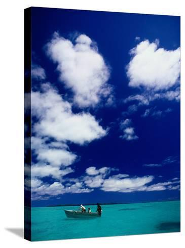 Tourists in Boat on Aitutaki Lagoon, Cook Islands, Pacific-Dallas Stribley-Stretched Canvas Print