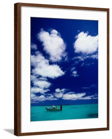 Tourists in Boat on Aitutaki Lagoon, Cook Islands, Pacific-Dallas Stribley-Framed Art Print