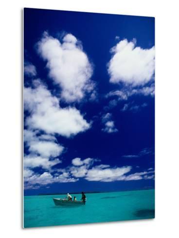 Tourists in Boat on Aitutaki Lagoon, Cook Islands, Pacific-Dallas Stribley-Metal Print