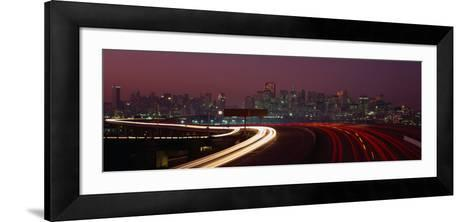 Freeway with the City in the Background, San Francisco, California, USA-Thomas Winz-Framed Art Print