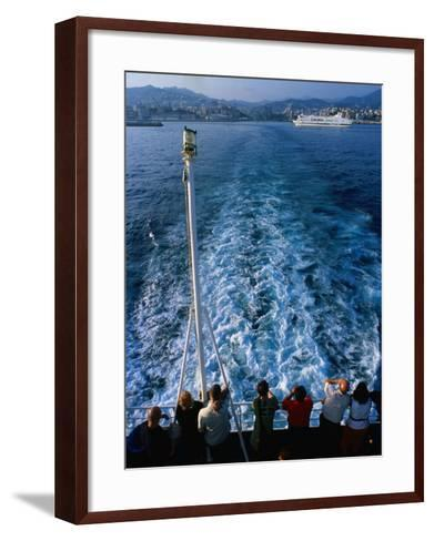 Passengers on Deck of Ferry Travelling from Sardinia to Genova, Sardinia, Italy-Dallas Stribley-Framed Art Print