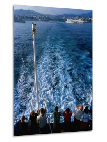 Passengers on Deck of Ferry Travelling from Sardinia to Genova, Sardinia, Italy-Dallas Stribley-Metal Print