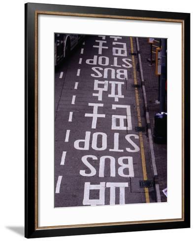 Bus Stop Markings at Wanchai, Hong Kong, China-Lawrence Worcester-Framed Art Print