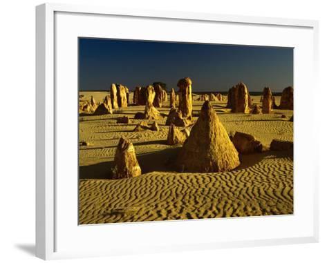 Rock Formations in the Sand of the Pinnacles Desert, Nambung National Park, Western Australia-Richard I'Anson-Framed Art Print