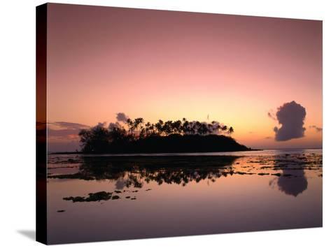 Dawn Sky Over Motu Taakoka, Mirrored in Waters of Muri Lagoon, Muri, Cook Islands-Manfred Gottschalk-Stretched Canvas Print