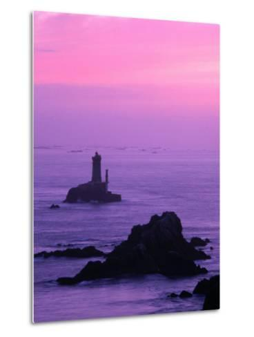 Silhouette of Lighthouse Against Pink Sky at Sunset, Pointe Du Raz, Brittany, France-Olivier Cirendini-Metal Print