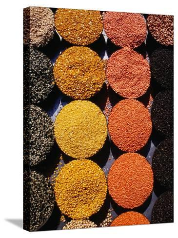 Pulses and Grains at Azadpur Market, Delhi, India-Richard I'Anson-Stretched Canvas Print