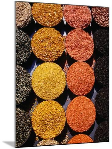 Pulses and Grains at Azadpur Market, Delhi, India-Richard I'Anson-Mounted Photographic Print