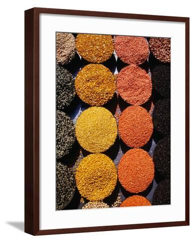 Pulses and Grains at Azadpur Market, Delhi, India-Richard I'Anson-Framed Art Print