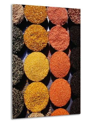 Pulses and Grains at Azadpur Market, Delhi, India-Richard I'Anson-Metal Print