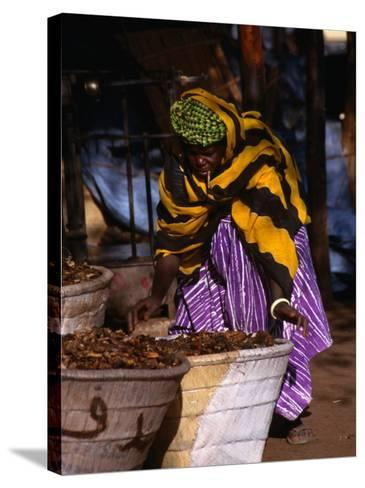 Local Woman Setting Up to Sell Dried Fish in Mopti Harbour, Mopti, Mali-Patrick Syder-Stretched Canvas Print