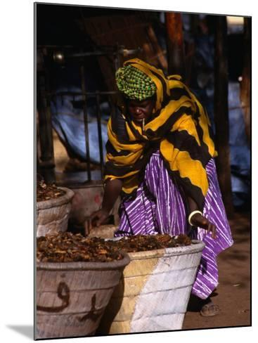 Local Woman Setting Up to Sell Dried Fish in Mopti Harbour, Mopti, Mali-Patrick Syder-Mounted Photographic Print