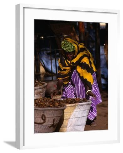 Local Woman Setting Up to Sell Dried Fish in Mopti Harbour, Mopti, Mali-Patrick Syder-Framed Art Print