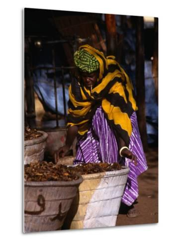 Local Woman Setting Up to Sell Dried Fish in Mopti Harbour, Mopti, Mali-Patrick Syder-Metal Print