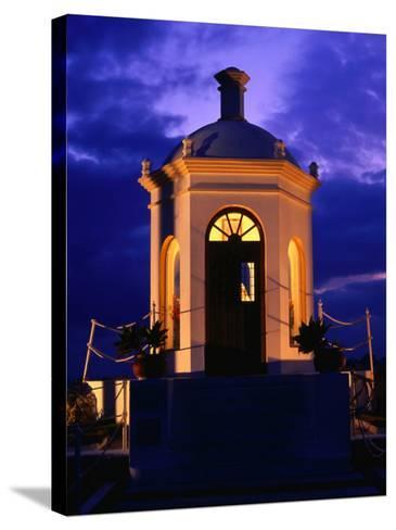 Harbourside Shrine at Puerto Banus Illuminated Against the Evening Sky, Marbella, Andalucia, Spain-David Tomlinson-Stretched Canvas Print