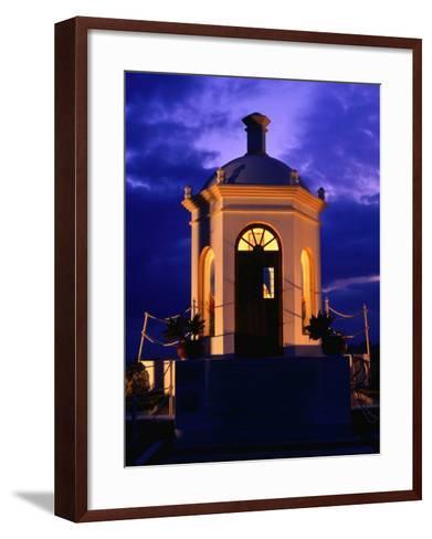 Harbourside Shrine at Puerto Banus Illuminated Against the Evening Sky, Marbella, Andalucia, Spain-David Tomlinson-Framed Art Print