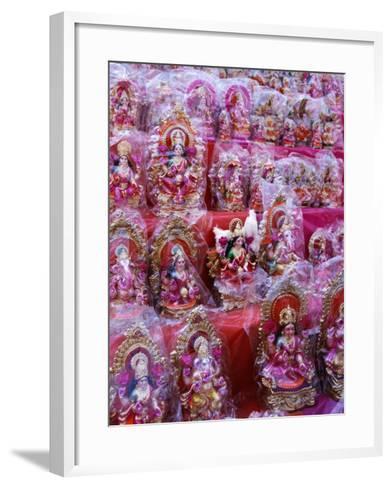 Figurines of Hindu Gods Ganesh and Laxshmi, Sold as Part of the Diwali Festival, Varanasi, India-Greg Elms-Framed Art Print