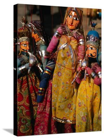 Rajasthani Puppets for Sale in Street Stall, Jaipur, India-Anders Blomqvist-Stretched Canvas Print