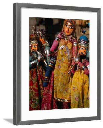 Rajasthani Puppets for Sale in Street Stall, Jaipur, India-Anders Blomqvist-Framed Art Print