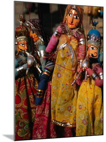 Rajasthani Puppets for Sale in Street Stall, Jaipur, India-Anders Blomqvist-Mounted Photographic Print