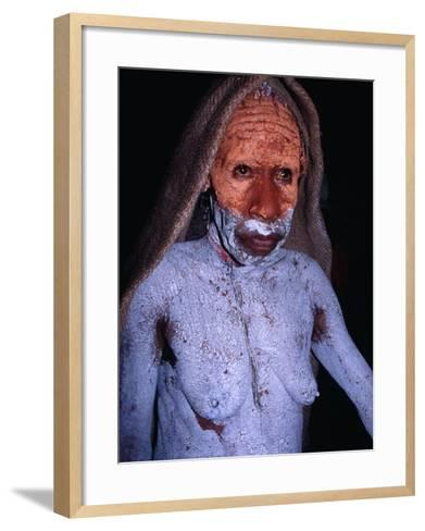 Dani Woman in Mourning with Body Painted in Mud at the Wamena Market, Irian Jaya, Indonesia-Karl Lehmann-Framed Art Print