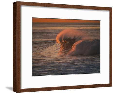 Breaking Surf at Sunset in La Jolla-Tim Laman-Framed Art Print