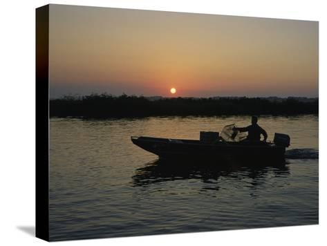 Crabbing off Delacroix Island at Sunrise-Medford Taylor-Stretched Canvas Print