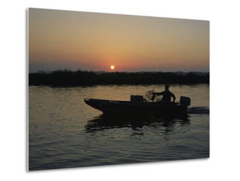 Crabbing off Delacroix Island at Sunrise-Medford Taylor-Metal Print