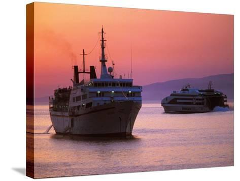 Ferry & Marine Traffic at Mykonos Harbor, Greece-Walter Bibikow-Stretched Canvas Print