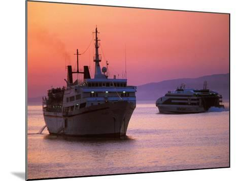 Ferry & Marine Traffic at Mykonos Harbor, Greece-Walter Bibikow-Mounted Photographic Print