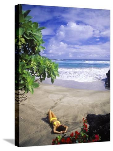 Woman on Beach, Hana Maui, HI-Tomas del Amo-Stretched Canvas Print