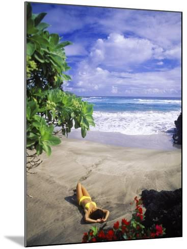 Woman on Beach, Hana Maui, HI-Tomas del Amo-Mounted Photographic Print