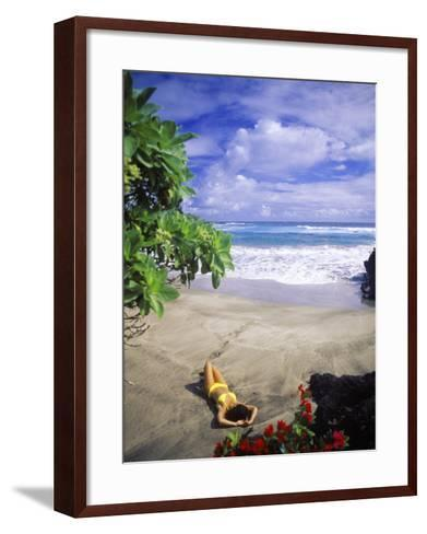 Woman on Beach, Hana Maui, HI-Tomas del Amo-Framed Art Print