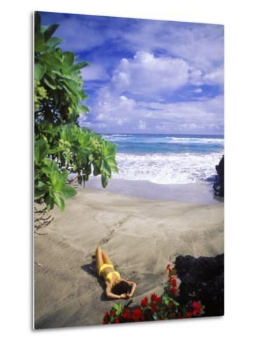 Woman on Beach, Hana Maui, HI-Tomas del Amo-Metal Print