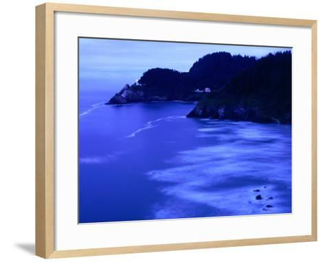 Bay with Heceta Head Lighthouse and Light Keepers House, Yachats, USA-Brent Winebrenner-Framed Art Print