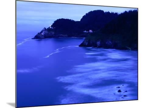 Bay with Heceta Head Lighthouse and Light Keepers House, Yachats, USA-Brent Winebrenner-Mounted Photographic Print
